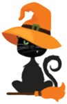 Black Cat Halloween Witch Broomstick