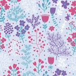 Red Blue Teal Garden Floral