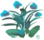 Atom Flowers #34 in turquoise and green