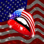 USA Flag Lipstick on Sensual Lips