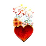 Valentine Floral Fire Heart Love
