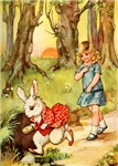 ALICE FOLLOWS THE WHITE RABBIT