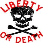 Liberty Or Death Grunge Skull