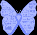 Stomach Cancer Butterfly Collage of Words Shirts