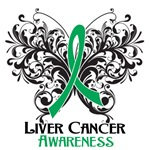 Butterfly Floral Liver Cancer Shirts and Gifts