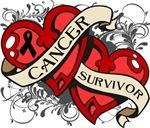 Skin Cancer Survivor Double Heart Shirts