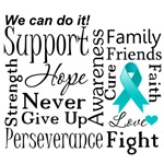 Ovarian Cancer Supportive Words Shirts