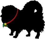 Christmas or Holiday Pomeranian Jingle Bell Silhou