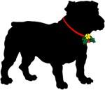 Christmas or Holiday Bulldog Silhouette
