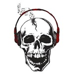 Musical Skull with headphones