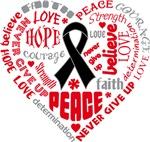 Melanoma Heart Words Shirts