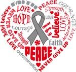 Brain Cancer Heart Words Shirts