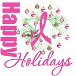 Happy Holidays Pink Ribbon Wreath Cards & Gifts