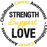 Childhood Cancer Strength Support Love Shirts