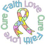 Faith Love Cure Pastel Autism Shirts & Gifts