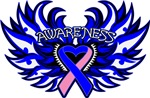 Male Breast Cancer Heart Awareness Wings Shirts