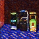 3 Classic Arcade Machines in Pastel
