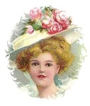 Edwardian Lady With Rose Hat in Portrait