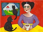 Frida with Coffee and Cats