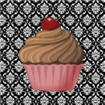 Pink Cupcake Damask