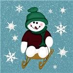 Snowman on Blue Snow