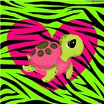 Pink Sea Turtle on Green Zebra