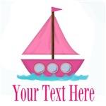 Personalizable Pink Sailboat