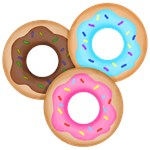 Donuts in Pink Blue and Chocolate