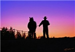 Sunset Cowboy and Horse