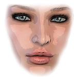 Woman Face Green Eyes