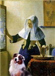 MAID WITH PITCHER<br>& Australian Shepherd