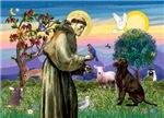 SAINT FRANCIS<br>& Chocolate Labrador