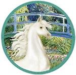 White Arabian Horse<br>In Lily Pond Bridge