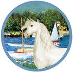 White Arabian Horse<br> and Sailboats