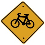 Cycling gifts with a black and yellow bike sign.