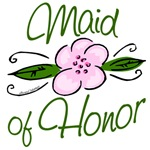 Pink Flower Maid of Honor T-shirts, Gifts