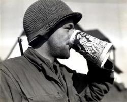 1945 Soldier drinking beer