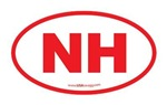 New Hampshire NH Euro Oval RED