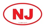 New Jersey NJ Euro Oval RED