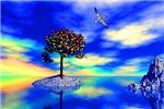 Tree in blue landscape