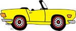 Yellow TR6 Cartoon