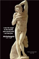 Michelangelo statue & Angel in Marble Quote