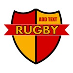 Rugby Shield Red Gold Personalize