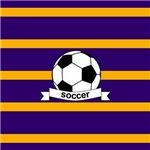Soccer Ball Banner Purple Gold Stripes