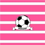 Soccer Ball Banner Pink and White Stripes
