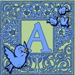 SWEET TWEET Bluebirds Monogram Tote