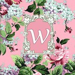 Antique Roses Pink Monogram Totes A to Z