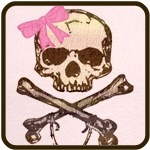Skull and Crossbones with Pink Bow