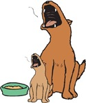 Dog and Puppy Howling for Dinner