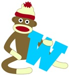 Sock Monkey Monogram Boy W